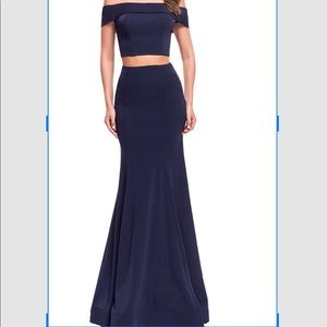 Navy off the Shoulder Prom Dress